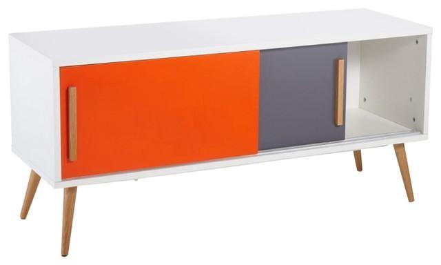 Scandinavian Orange And Grey Tv Stand – Scandinavian – Tv Stands With Regard To 2017 Orange Tv Stands (View 14 of 20)