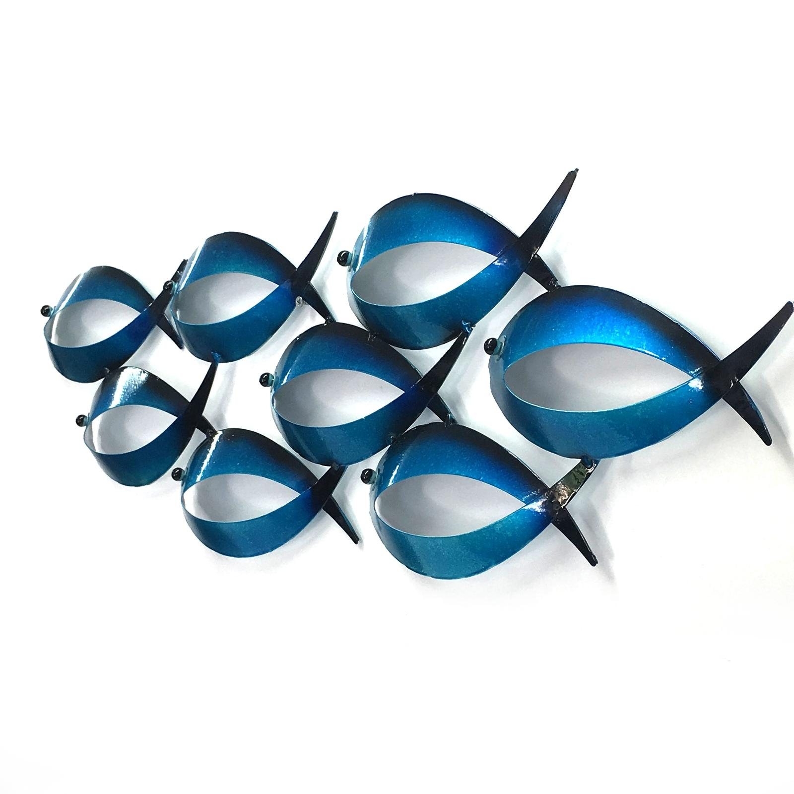 School Of Fish Metal Wall Art Hanging Sculpture Iron Beach Theme Regarding Metal School Of Fish Wall Art (Image 11 of 20)