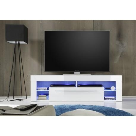 Score Tv Stand In White High Gloss With Led Lights – Tv Stands Within Most Recent Tv Stands With Led Lights (View 14 of 20)