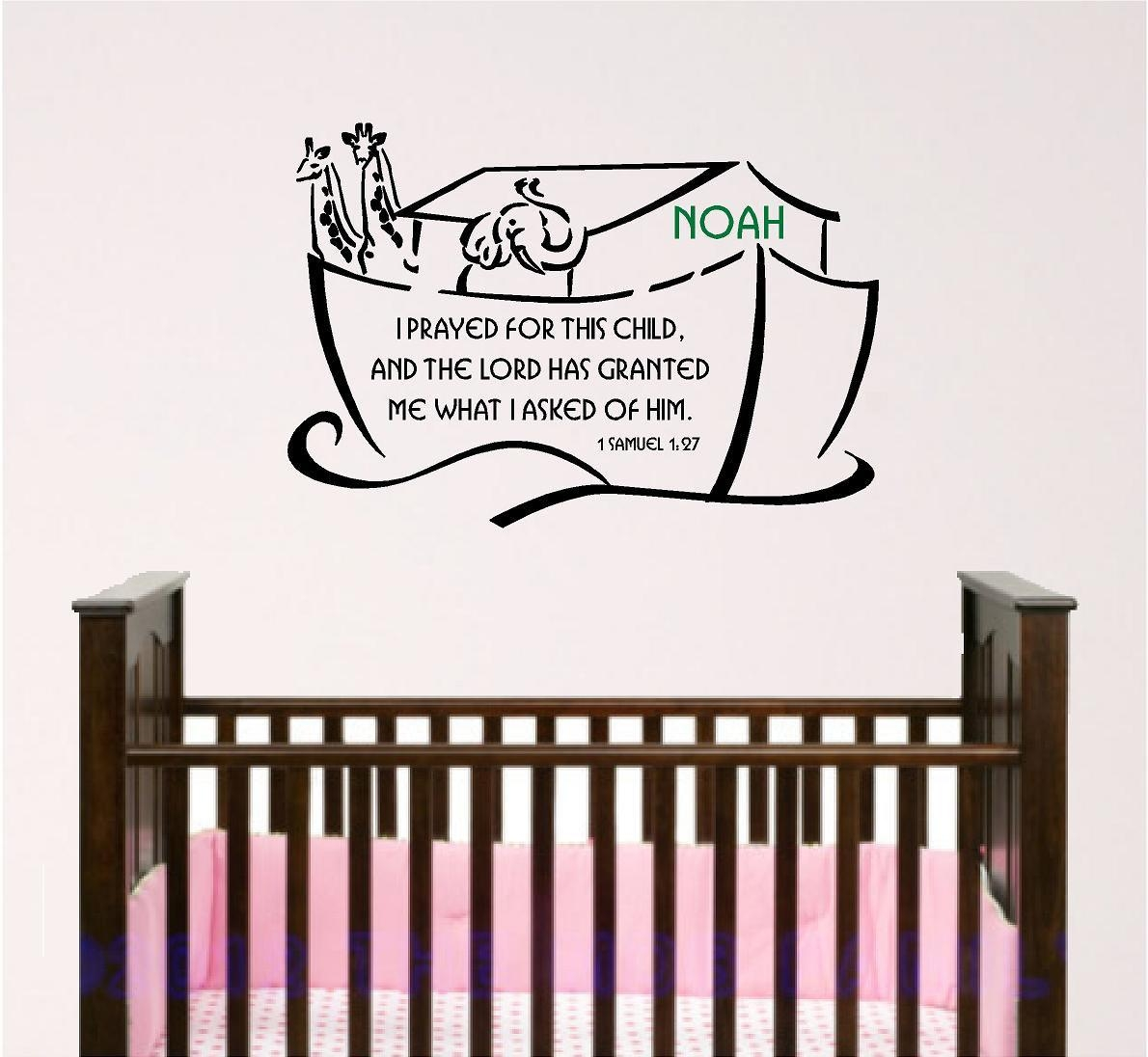 Scripture Wall Decal Noahs Ark Nursery Bible Verse Wall Art Pertaining To For This Child I Prayed Wall Art (Image 20 of 20)