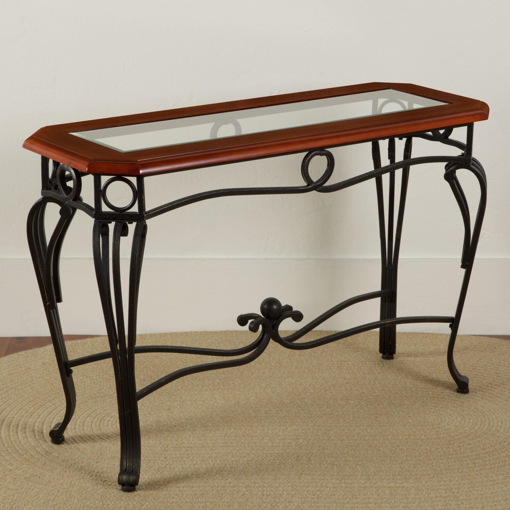 Scrolled Iron Glass Sofa Table | Sturbridge Yankee Workshop For Metal Glass Sofa Tables (Image 14 of 22)