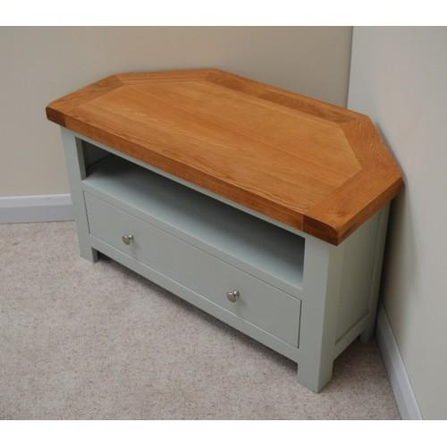 Sea Green Oak Corner Tv Stand / Entertainment Unit With Regard To Most Up To Date Painted Corner Tv Cabinets (Image 16 of 20)