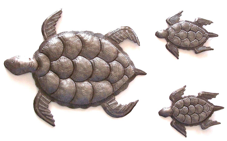 Sea Turtle, Set Of 3, Swimming Left, Ocean, Beach, Metal Wall Art With Sea Turtle Metal Wall Art (View 5 of 20)
