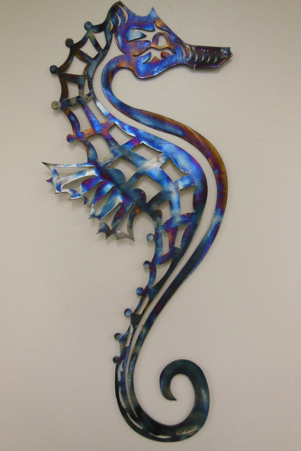 Seahorse Metal Art Wall Sculpture In Aluminum Or Stainless Throughout Sea Horse Wall Art (Image 10 of 20)
