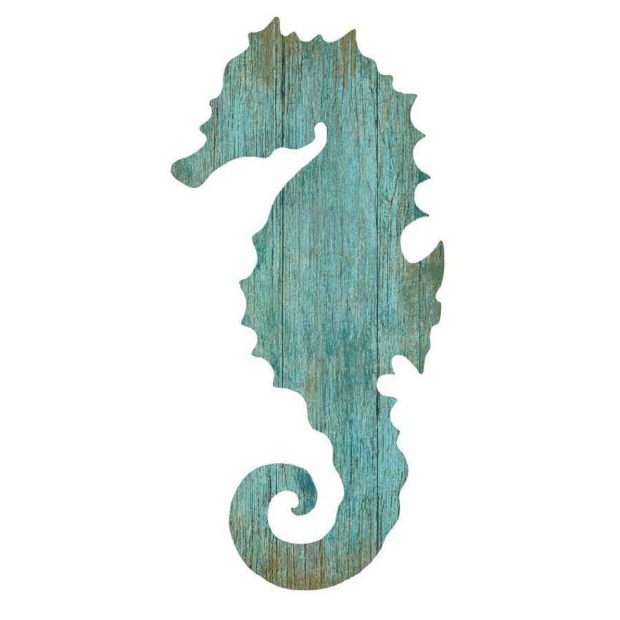 Seahorse Silhouette Facing Left Wall Art – Aqua – Beach Décor Shop Intended For Sea Horse Wall Art (Image 11 of 20)