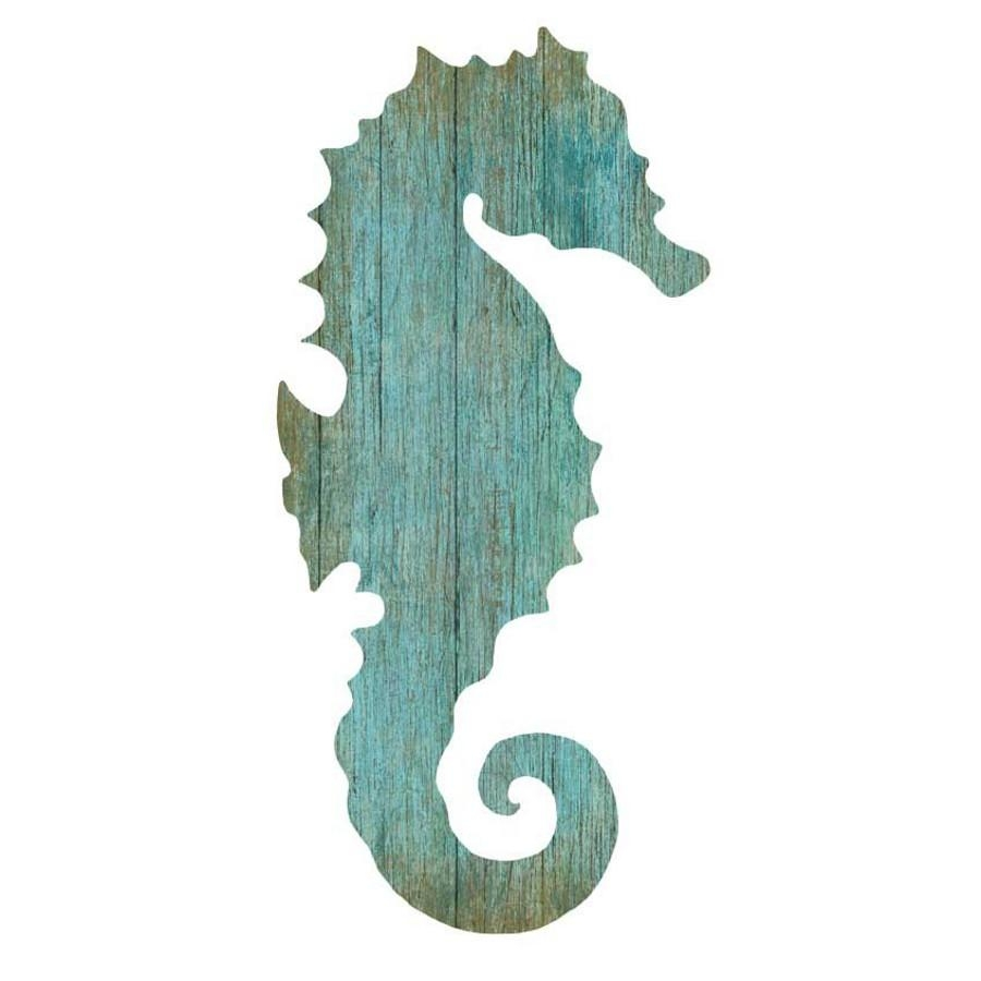 Seahorse Silhouette Facing Right Wall Art – Aqua – Beach Décor Shop For Sea Horse Wall Art (View 1 of 20)