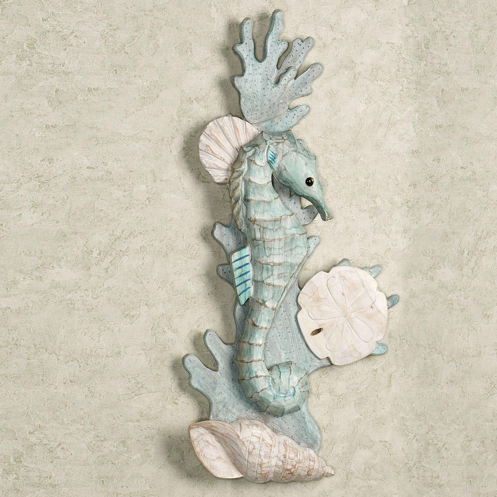 Seahorses In Reef Wooden Wall Art Inside Sea Horse Wall Art (Image 19 of 20)