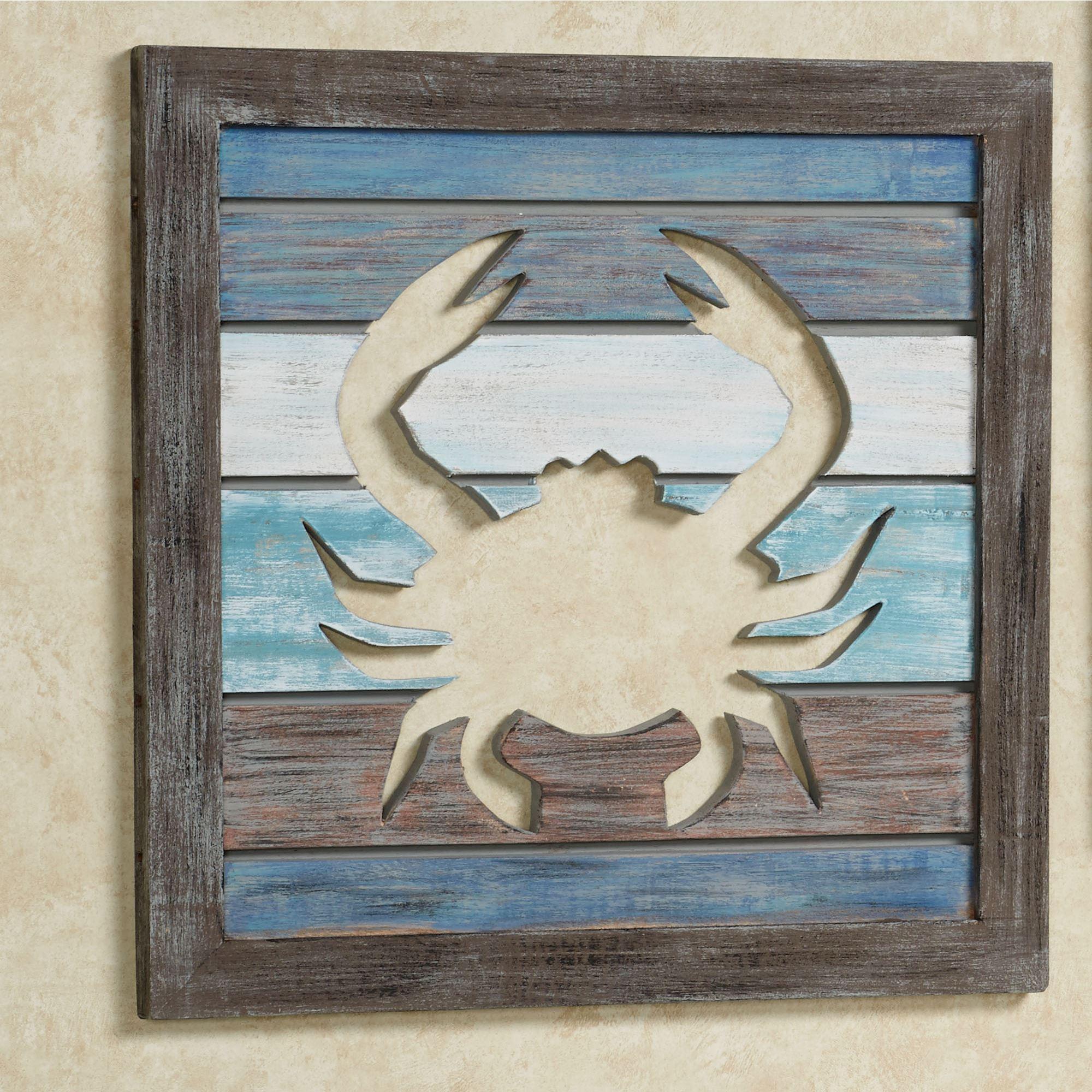 Sealife Cutout Slat Indoor Outdoor Coastal Wall Art Pertaining To Blue And Brown Wall Art (Image 16 of 20)
