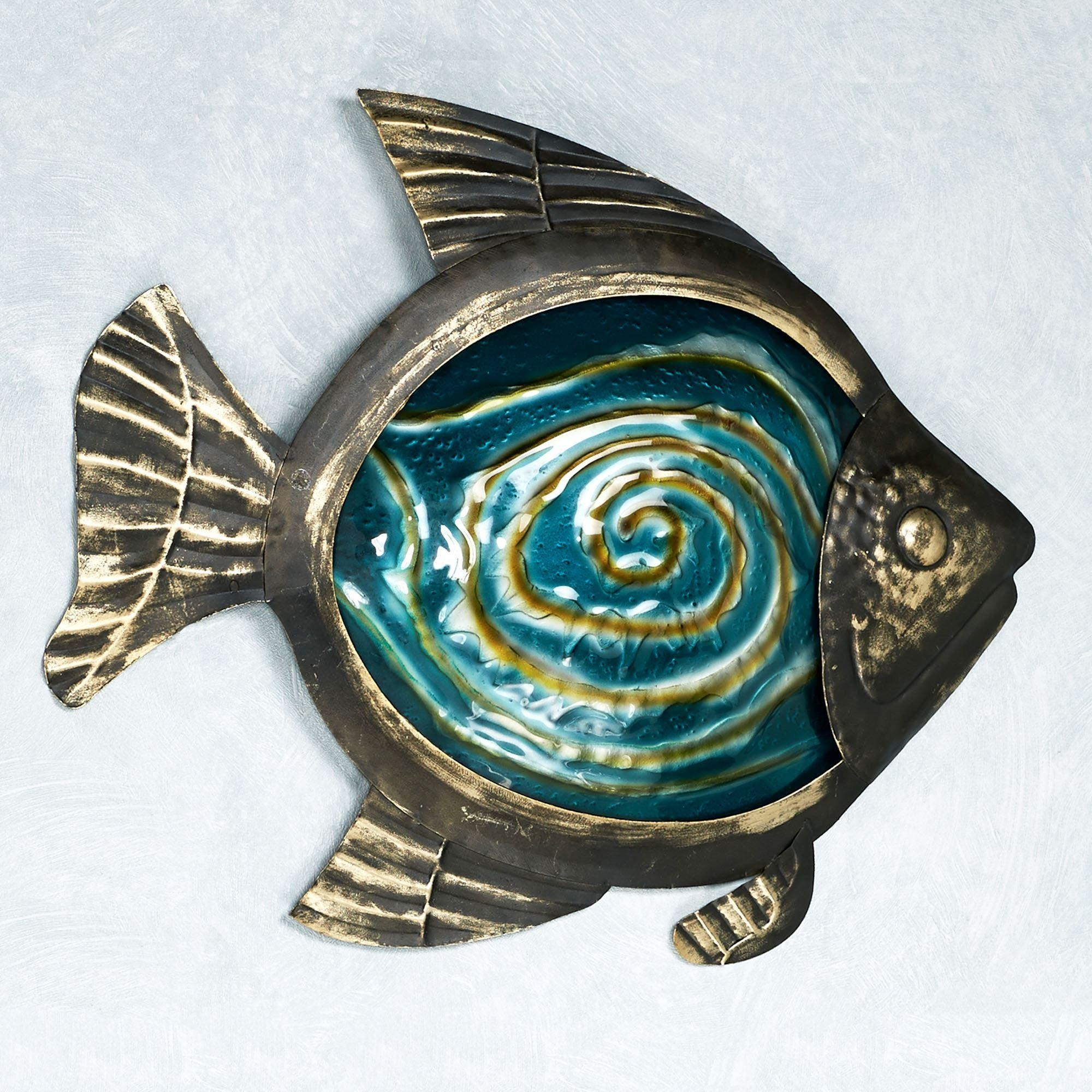 Sealife Indoor Outdoor Glass Metal Wall Art Throughout Turquoise Metal Wall Art (View 20 of 20)