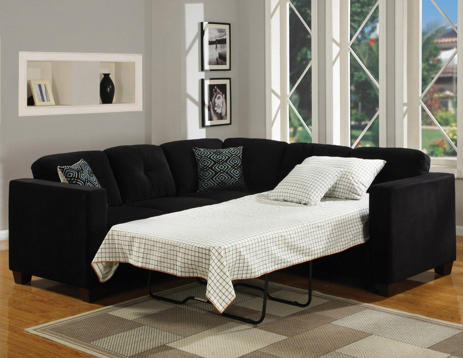 Sectional Sleeper Sofas | Roselawnlutheran For Black Leather Sectional Sleeper Sofas (Image 15 of 21)