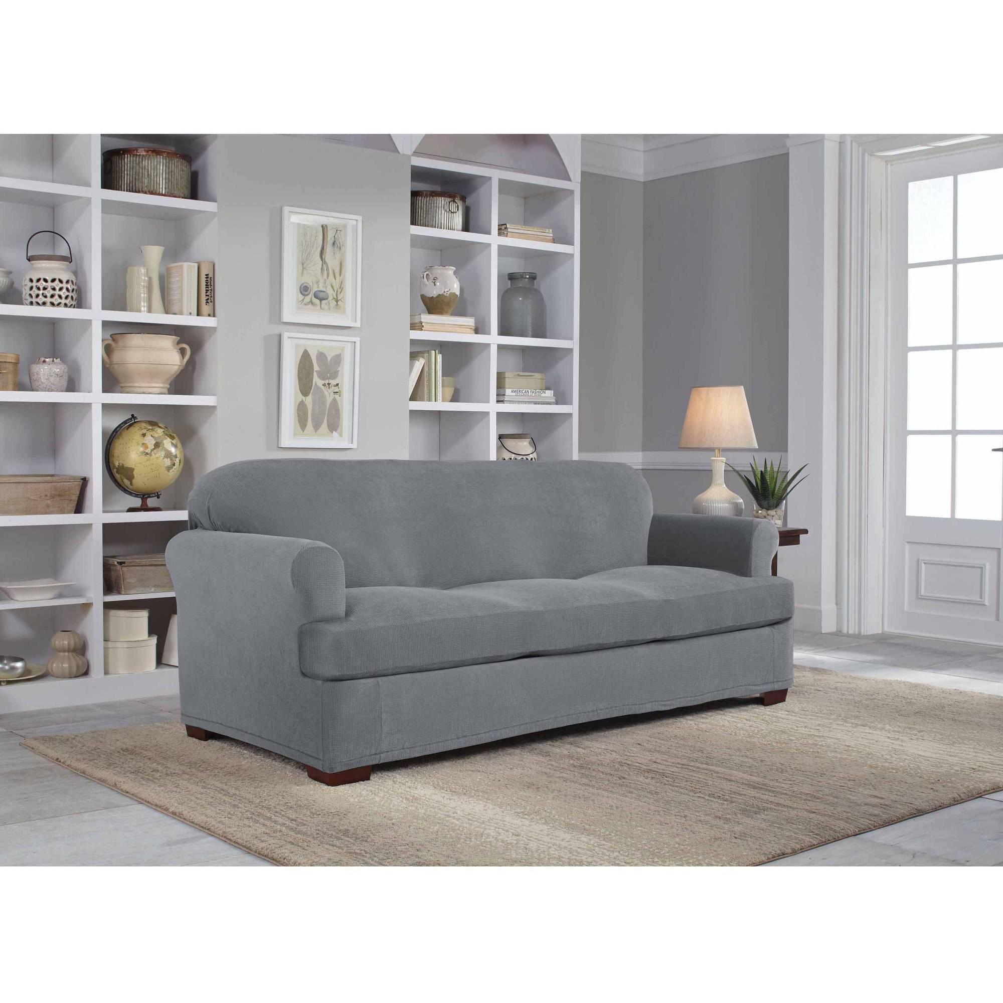 Serta Stretch Grid Slipcover, Sofa, 2 Piece T Cushion – Walmart Regarding 2 Piece Sofa Covers (View 27 of 27)