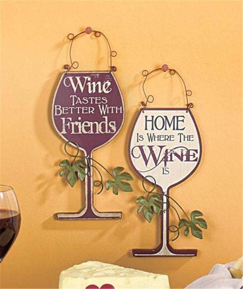 Set Of 2 Humorous Wine Themed Wine Bottle Shaped Wall Art Plaques With Regard To Wine Themed Wall Art (View 20 of 20)