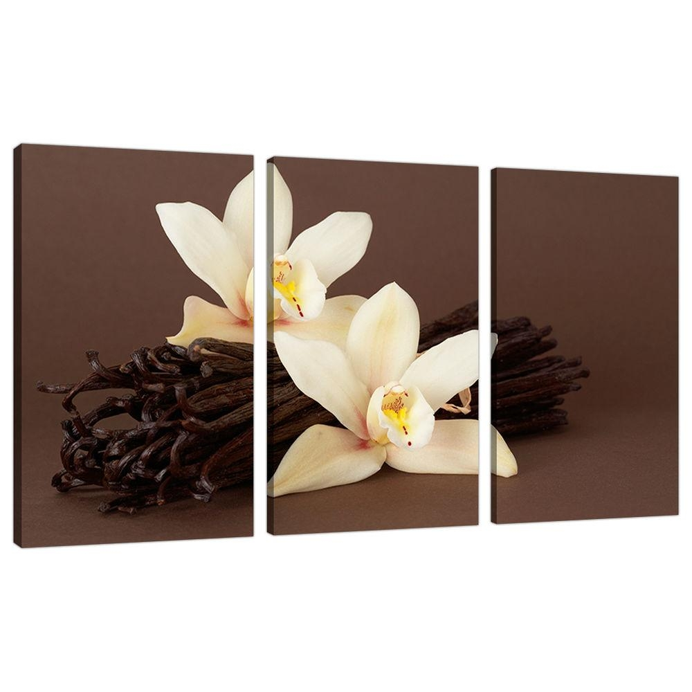 Set Of 3 Piece Large Brown Cream Floral Canvas Wall Art Pictures With Regard To 3 Piece Floral Wall Art (Image 13 of 20)