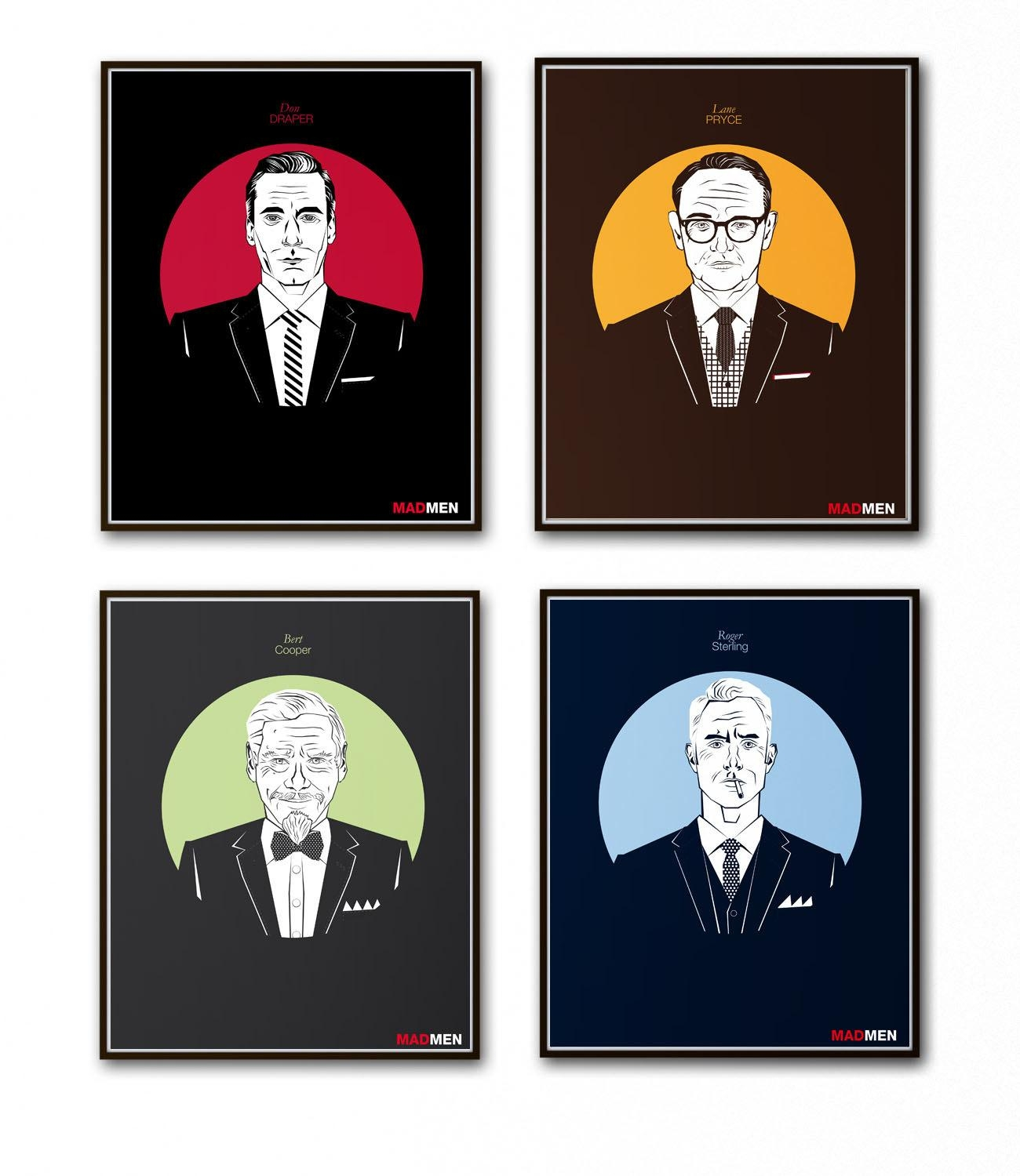 Set Of 4 Prints Mad Men Posters Tv Series Vintage Prints For Mad Men Wall Art (Image 17 of 20)