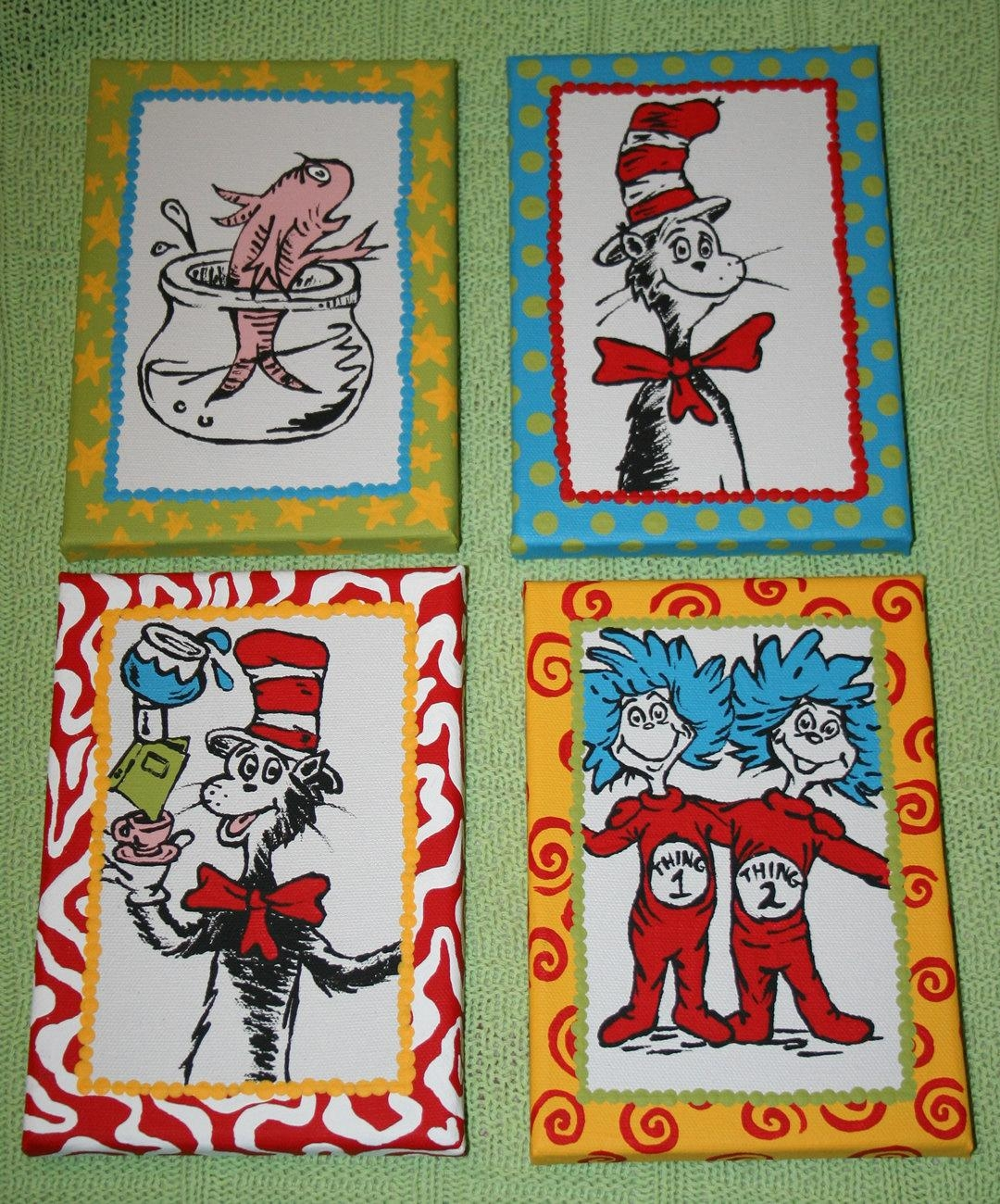 Set Of 4 Seuss Cat In The Hat Inspired Characters Custom Hand Inside Dr Seuss Canvas Wall Art (View 6 of 20)