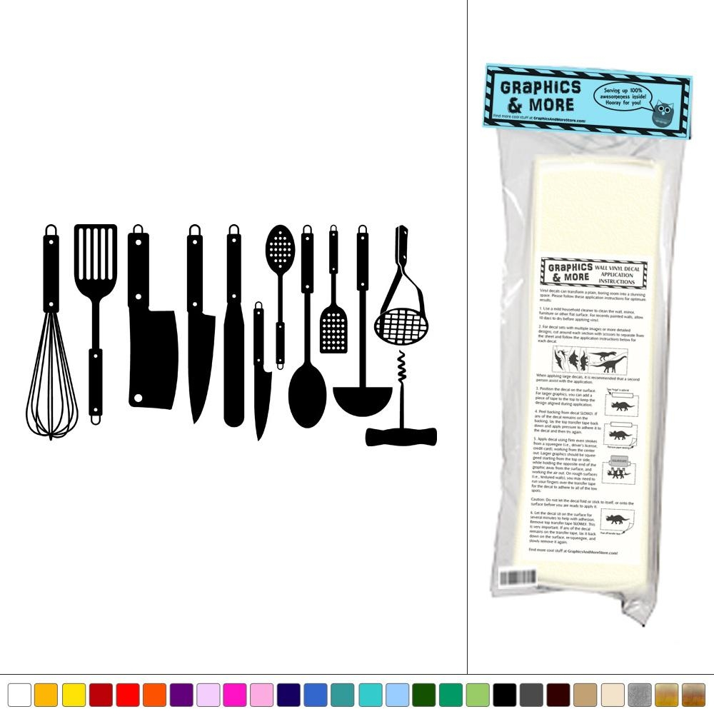 Set Of Kitchen Utensils – Vinyl Sticker Decal Wall Art Decor | Ebay Regarding Utensil Wall Art (View 16 of 21)