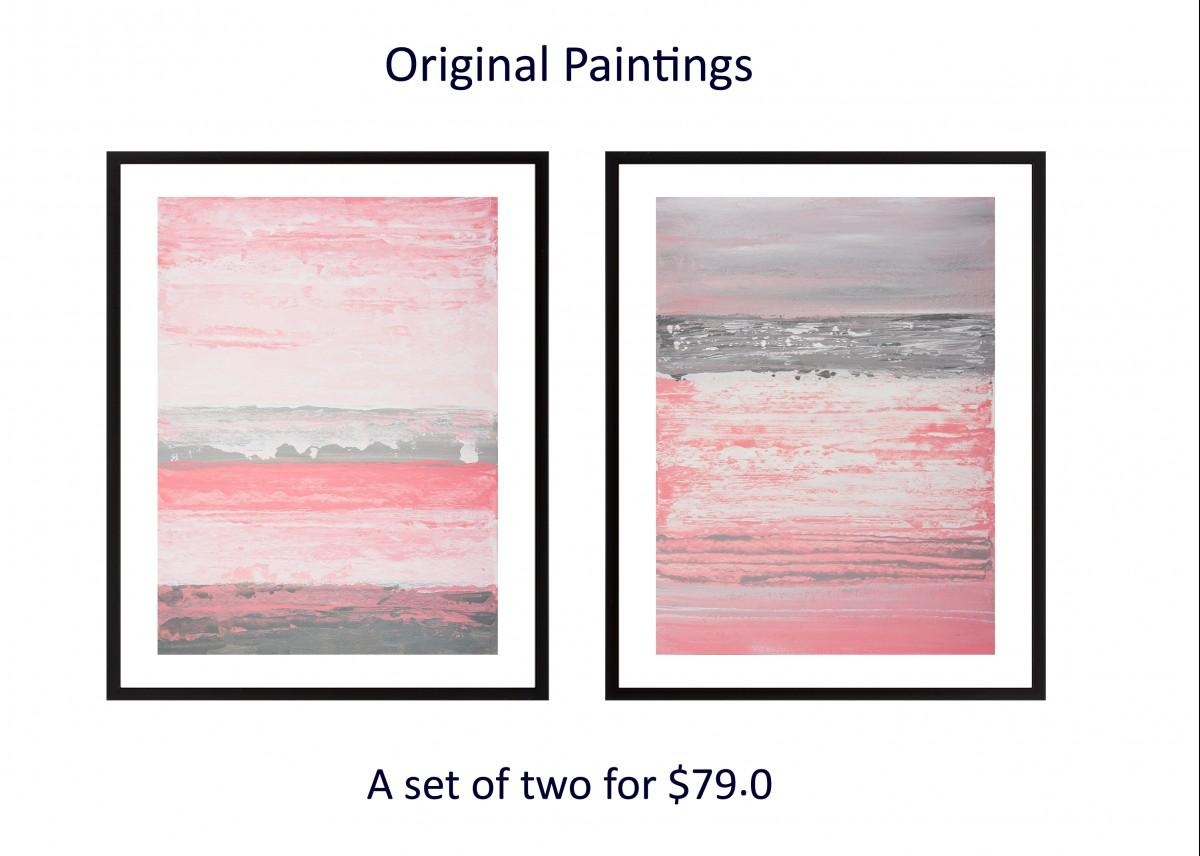 Set Of Two Original Painting Abstract Diptych Painting Pink Gray Within Pink And White Wall Art (View 15 of 20)