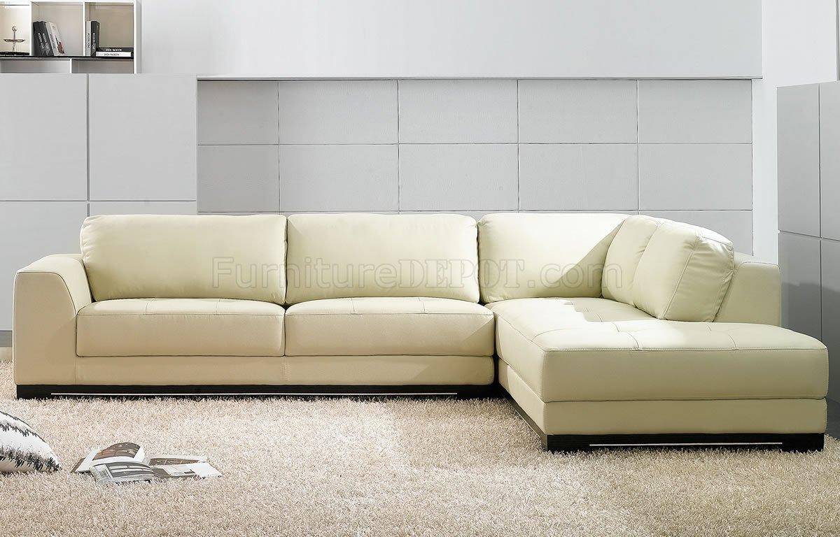 Sf6573 Ivory Full Leather Modern Sectional Sofaat Home Usa Within Ivory Leather Sofas (View 20 of 20)