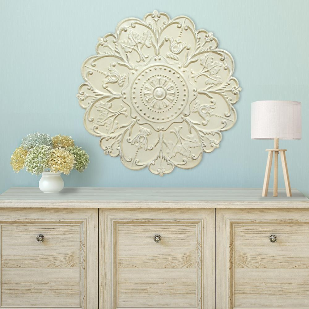 Shabby White Medallion Wall Decor S03354 – The Home Depot For White Medallion Wall Art (Image 6 of 20)