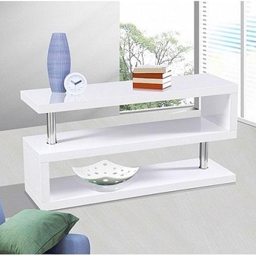 Sharp High Gloss Modern White Tv Stand – £ (View 10 of 29)