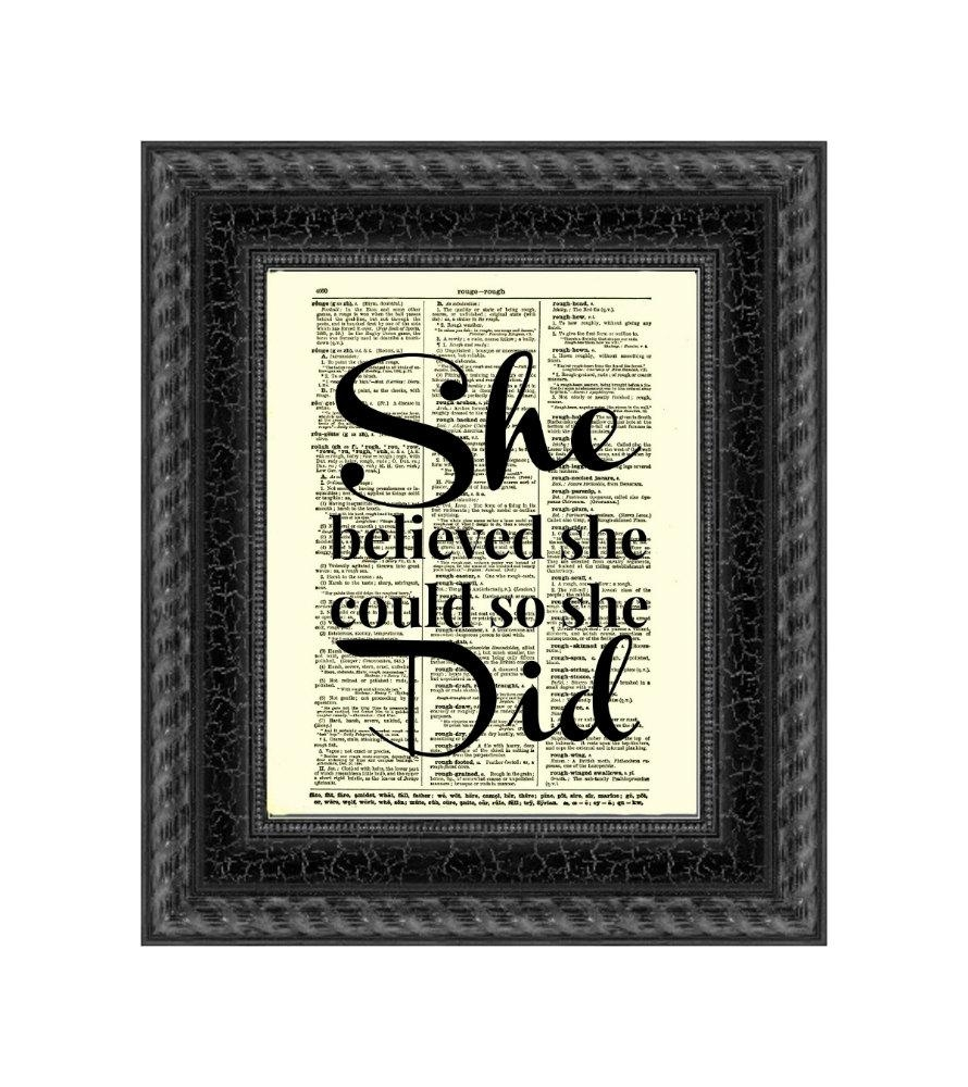 She Believed She Could So She Did Inspirational Art Print Pertaining To She Believed She Could So She Did Wall Art (View 10 of 20)