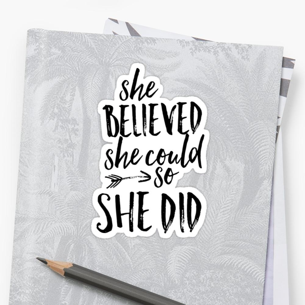 "She Believed She Could So She Did"" Stickersthecrownprints Inside She Believed She Could So She Did Wall Art (Image 18 of 20)"