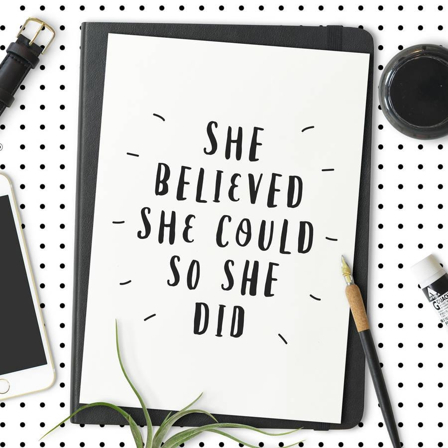 She Believed She Could So She Did' Typography Printthe Pertaining To She Believed She Could So She Did Wall Art (Image 16 of 20)