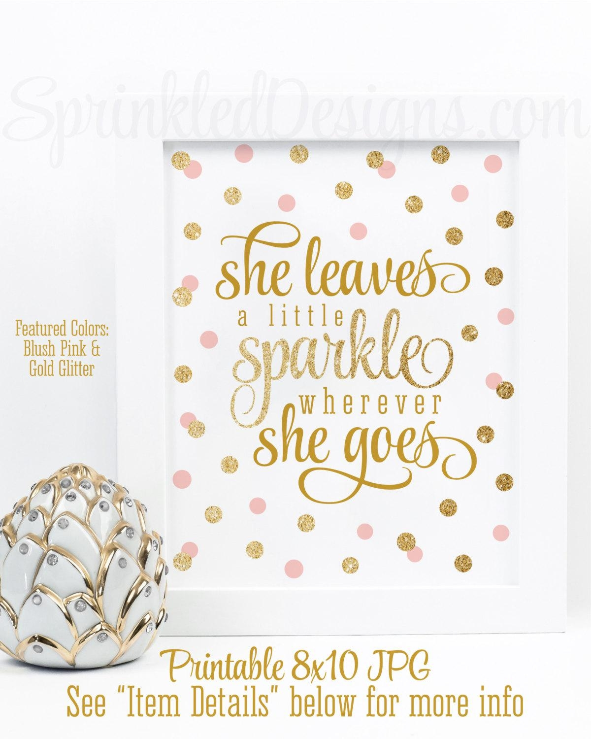 She Leaves A Little Sparkle Wherever She Goes Blush Pink Intended For For This Child I Have Prayed Wall Art (Image 20 of 20)