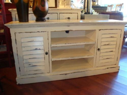 Shutter Plasma Tv Stand Cabinet Mahogany Wood Cottage Painted Inside Best And Newest Painted Tv Stands (View 11 of 20)