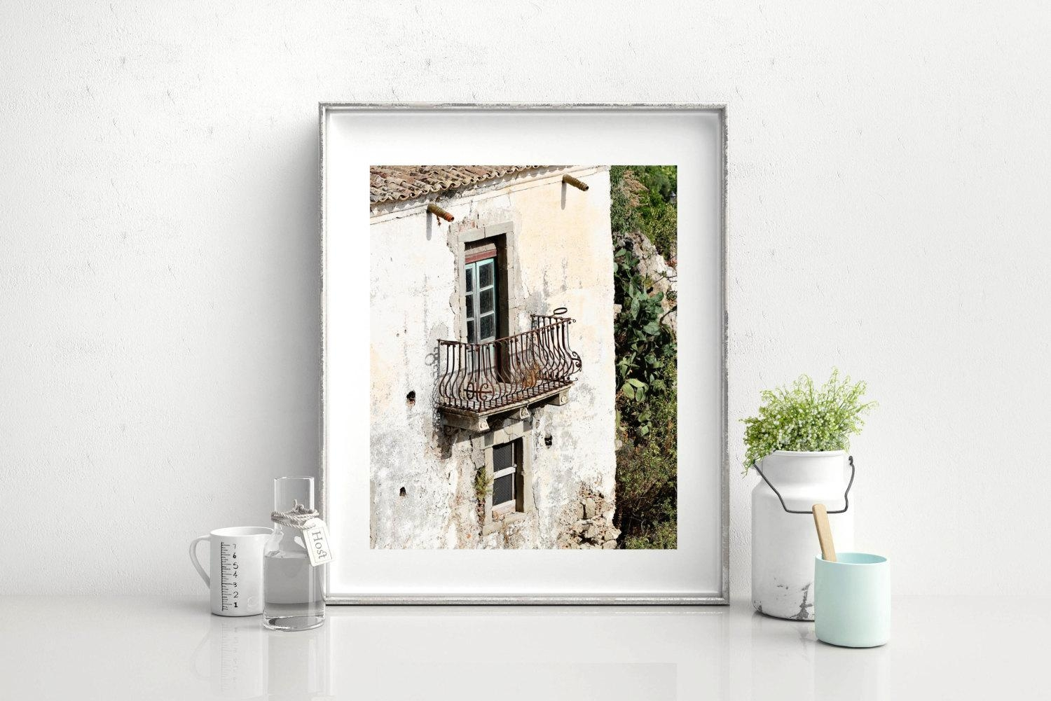 Sicily Italy Photography – Balcony Print – Rustic Italian Decor With Rustic Italian Wall Art (View 17 of 20)