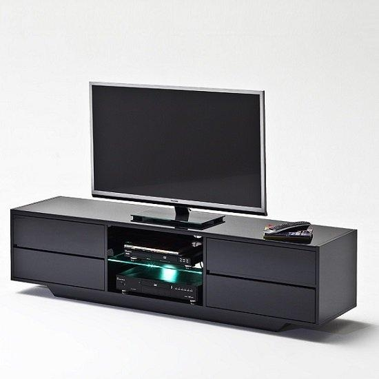 Sienna Tv Stand Unit In Black High Gloss With Led Lights Intended For Latest Black Gloss Tv Units (View 4 of 20)