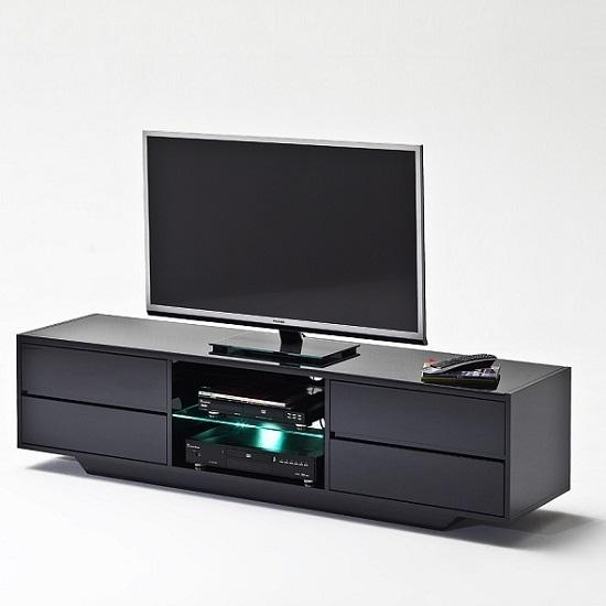 Sienna Tv Stand Unit In Black High Gloss With Led Lights Intended For Most Current Black High Gloss Corner Tv Unit (Image 12 of 20)