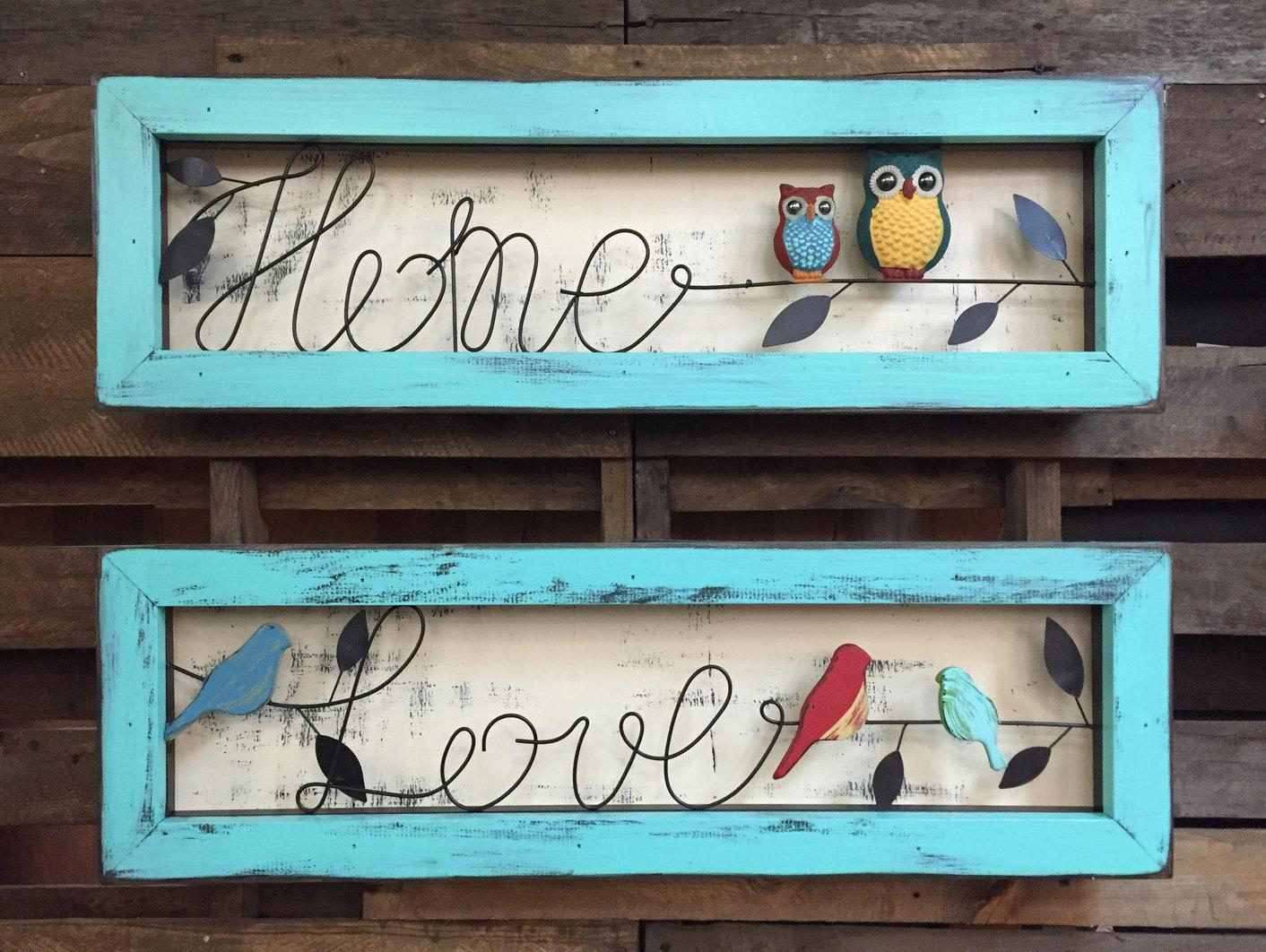 Sign Owl Home Love Birds Reclaimed Framed Wood Shadowbox For Caribbean Metal Wall Art (View 17 of 20)