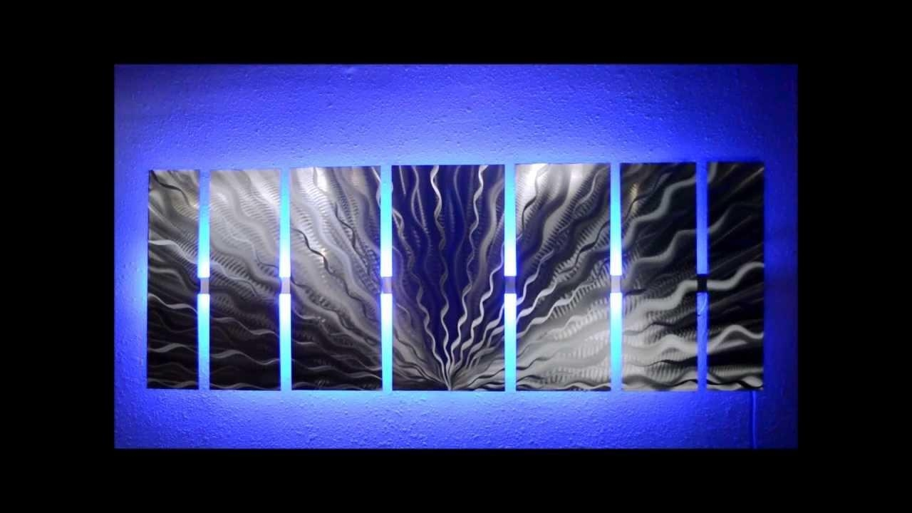Silver Vibration Led Lighted Metal Wall Artbrian M Jones – Youtube With Regard To Backlit Wall Art (View 12 of 20)