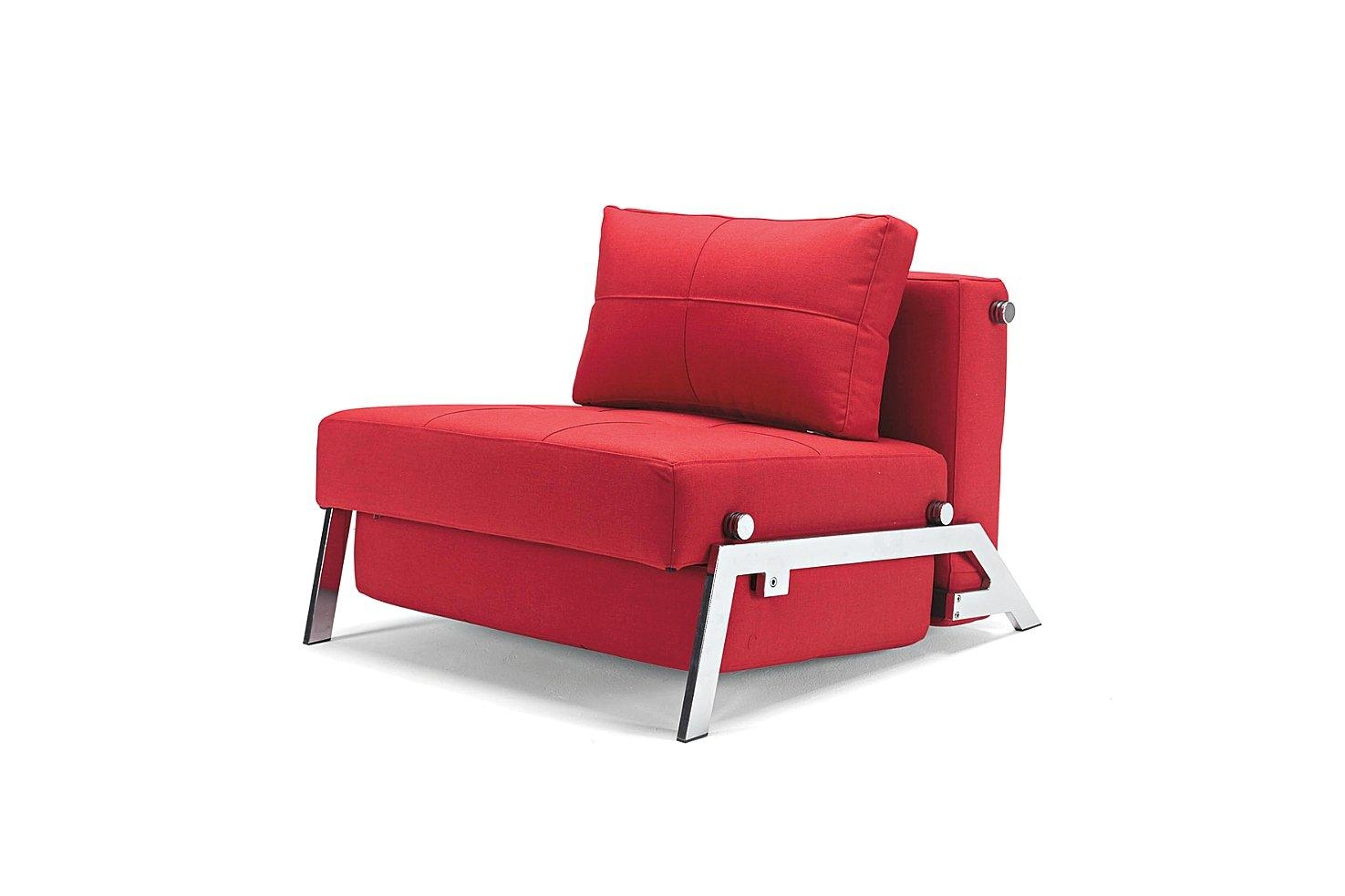 Single Sofa Bed Moblerfurniture Red Color – Lentine Marine | #41995 With Regard To Single Chair Sofa Beds (View 4 of 22)