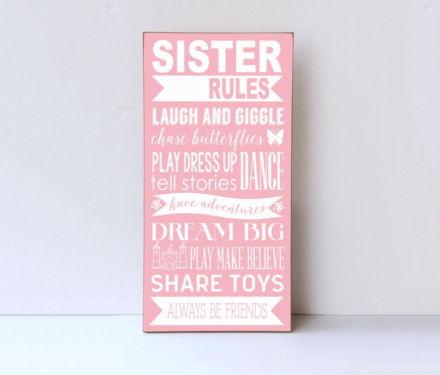 Sister Rules Wood Sign Sister Room Decor Playroom Wall Sign Pertaining To Playroom Rules Wall Art (View 12 of 20)
