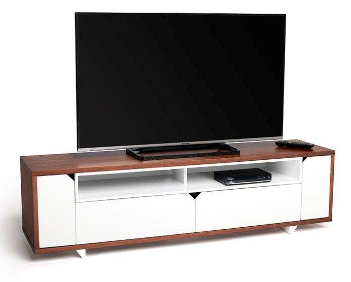 Sk160Wswt Stark 160Cm Wide Walnut And White Tv Cabinet (407490) Throughout Current Walnut Tv Cabinet (Image 17 of 20)