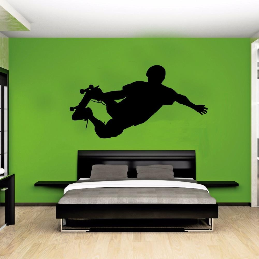 Skateboarder Silhouette Street Pop Sport Wall Art Sticker Decal Regarding Street Wall Art Decals (Image 13 of 20)