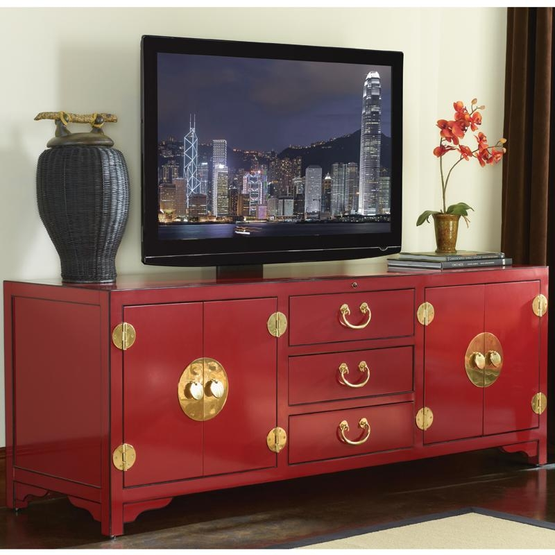 "Sligh 100Sr 660 Studio Designs Pacific Isle 75"" Asian Style Tv Regarding Latest Red Tv Stands (View 7 of 20)"