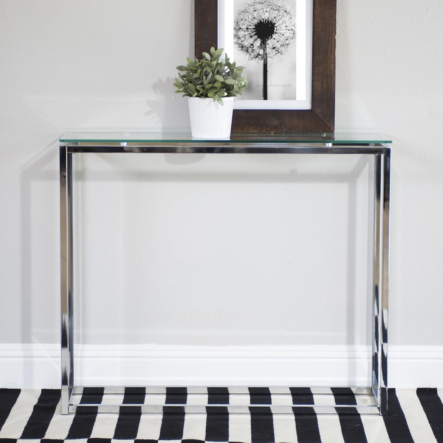 Small Glass Console Table Tags : Wonderful Glass Sofa Table Throughout Metal Glass Sofa Tables (Image 16 of 22)