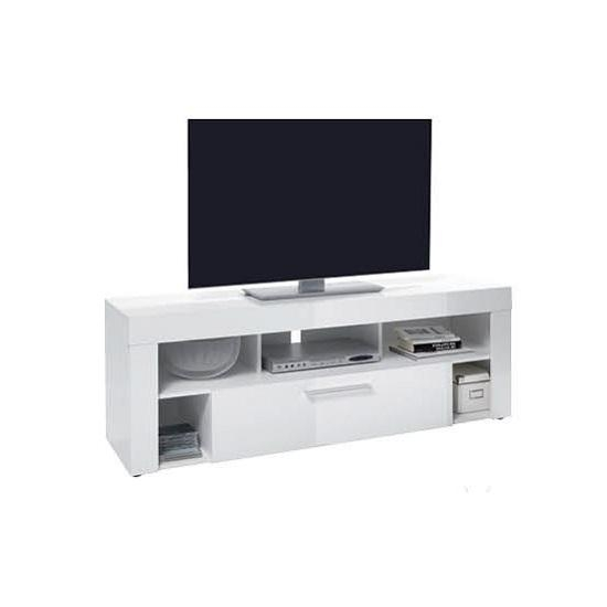 Small Lcd Tv Stand In White High Gloss With 1 Drawer Throughout Most Up To Date White High Gloss Tv Stands (Image 14 of 20)