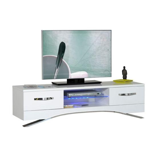 Smooth High Gloss White Lcd Tv Stand With Led Light 22487 Regarding Most Recent High Gloss White Tv Stands (View 4 of 20)