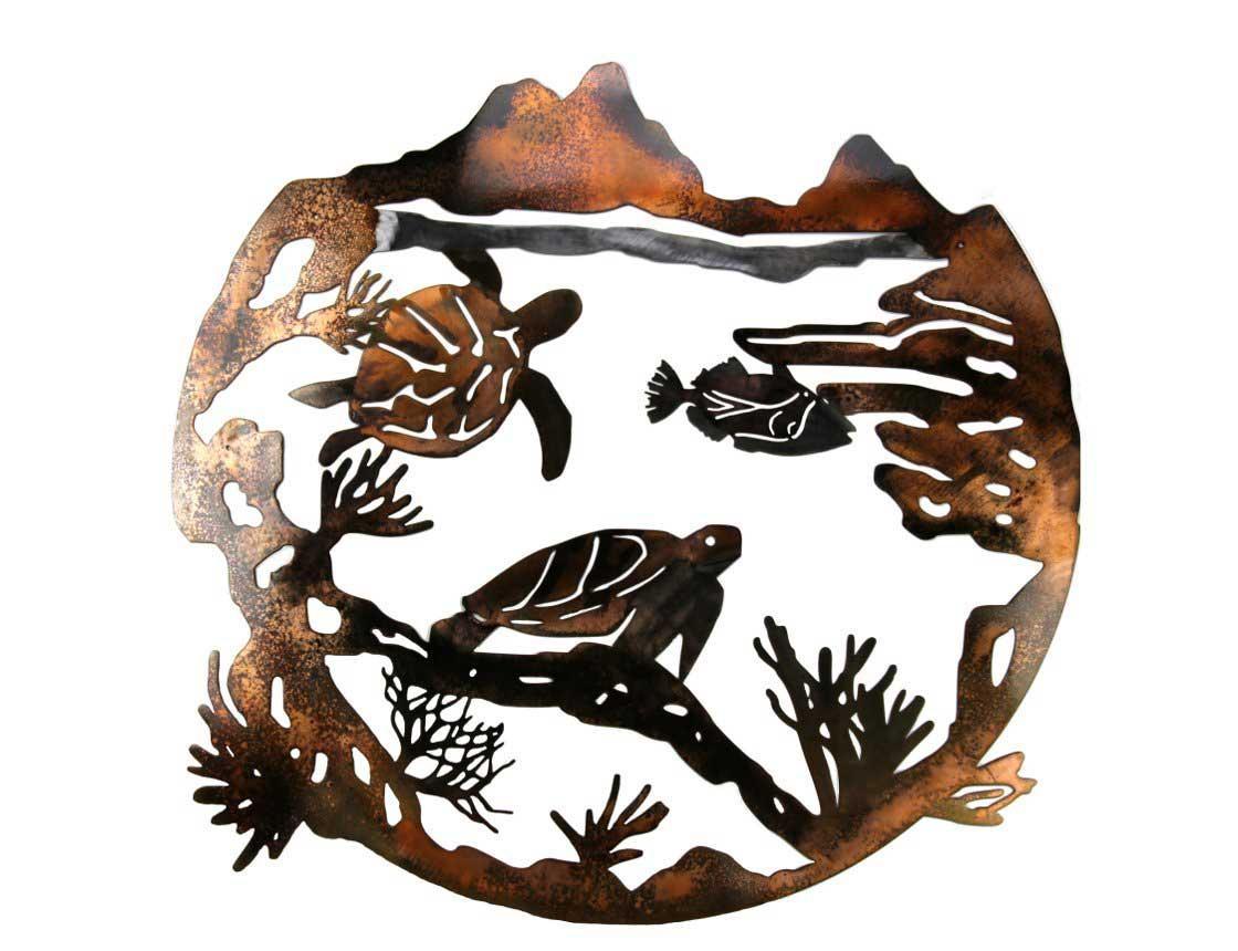 Smw257 Custom Metal Wall Art Marine Sea Turtle – Sunriver Metal Works In Outdoor Metal Turtle Wall Art (Image 9 of 20)