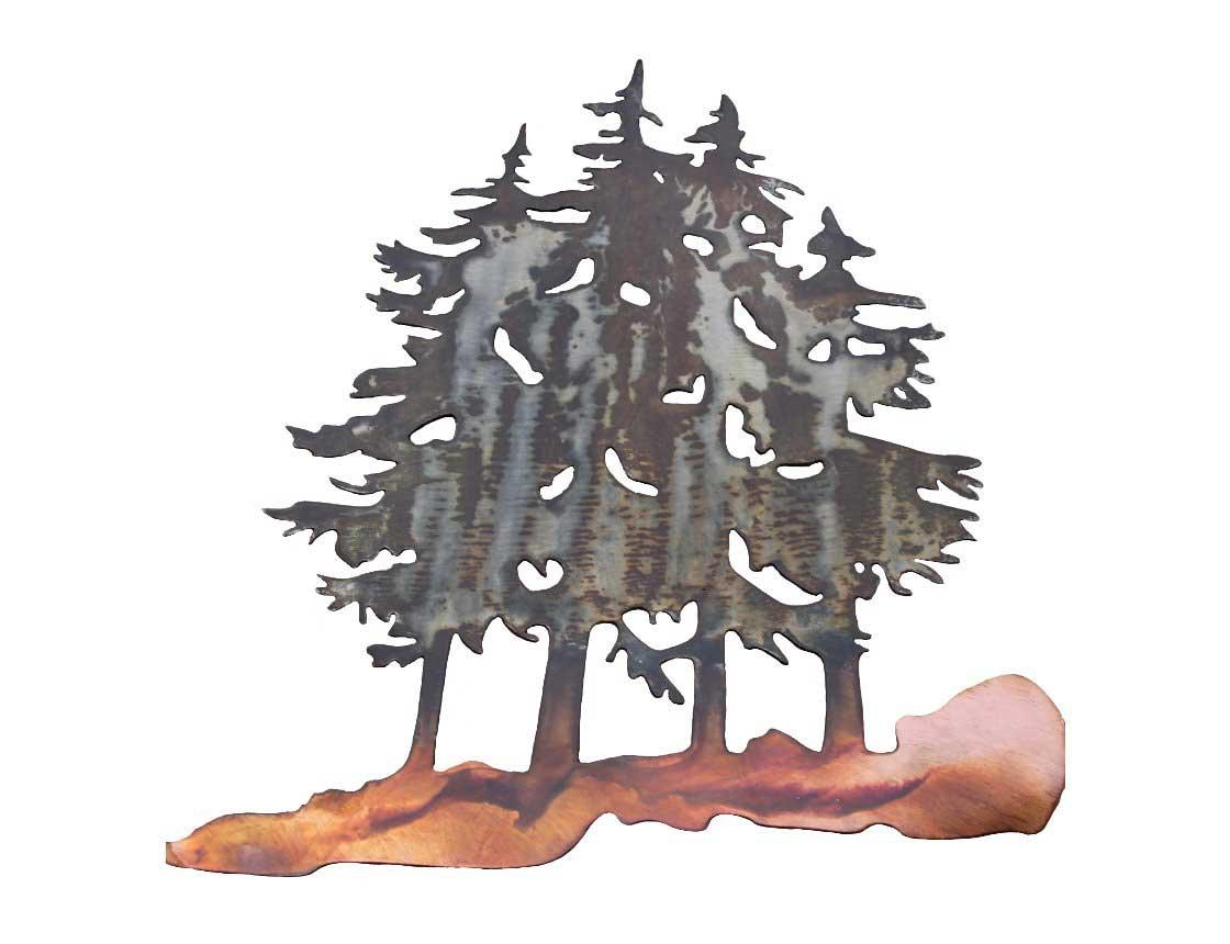 Smw277 Metal Decor Wall Art Forest Pine Trees – Sunriver Metal Works With Regard To Metal Pine Tree Wall Art (Image 16 of 20)