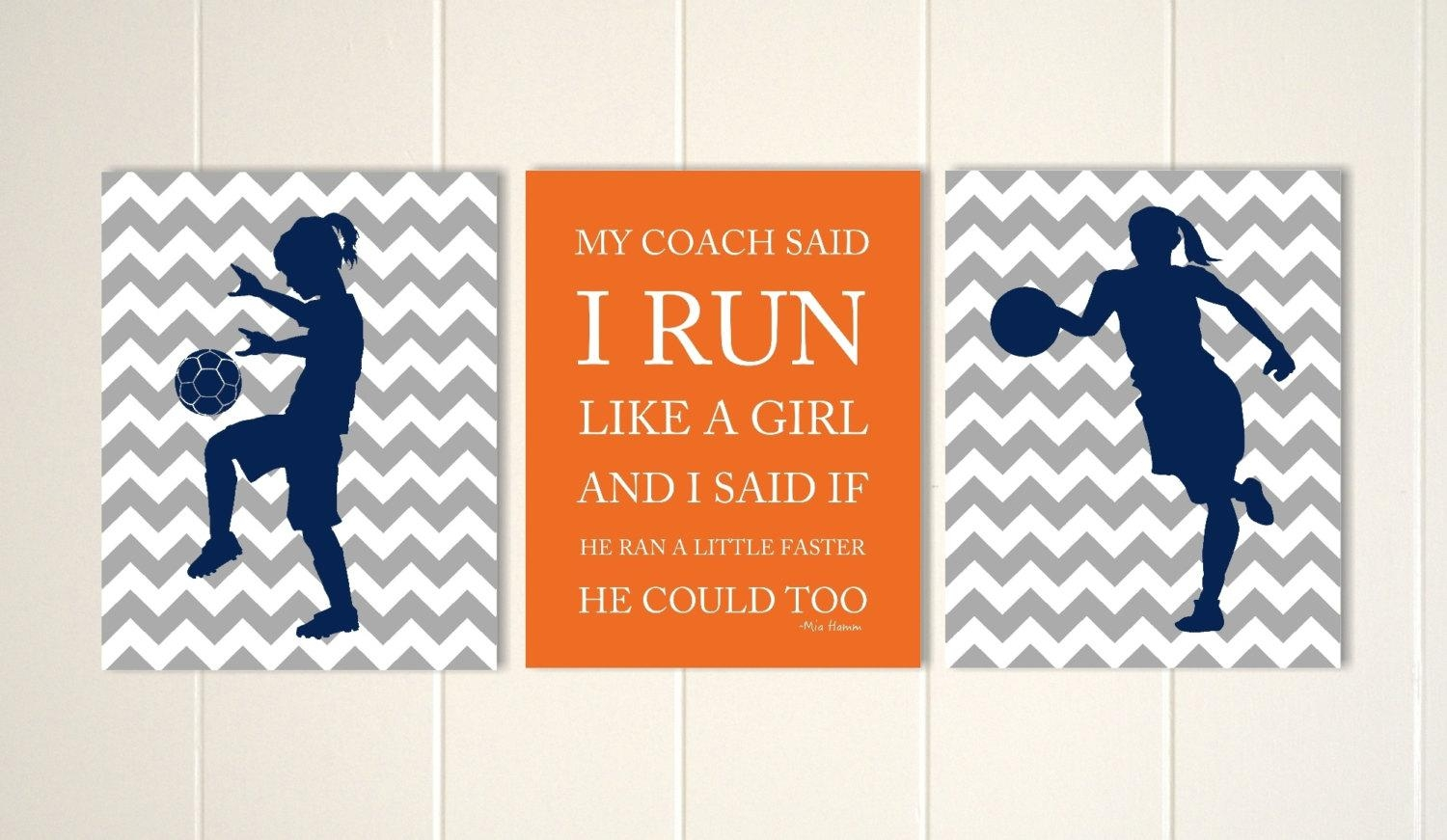 Soccer Girl Wall Art Soccer Room Decor Basketball Throughout Inspirational Wall Art For Girls (View 6 of 20)