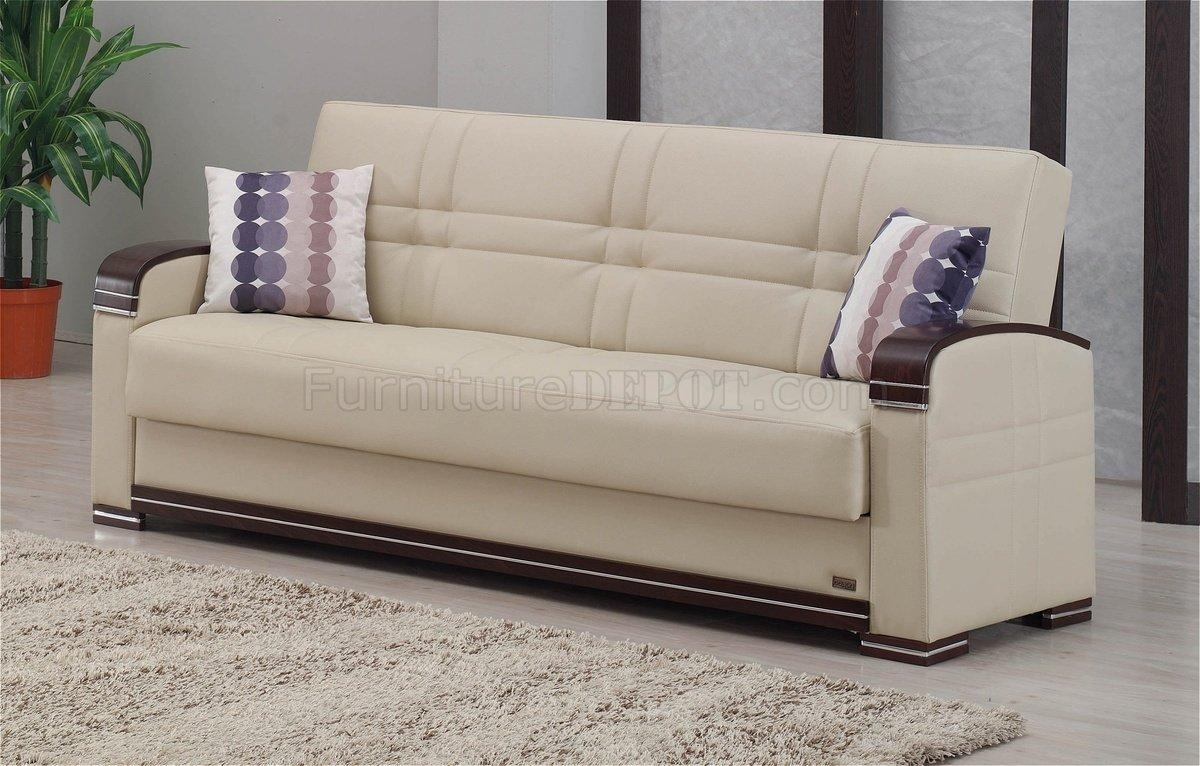 Sofa Bed In Beige Bonded Leatherempire W/options Pertaining To Fulton Sofa Beds (Image 17 of 21)