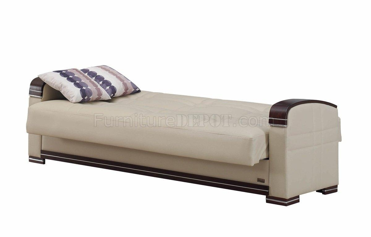 Sofa Bed In Beige Bonded Leatherempire W/options Regarding Fulton Sofa Beds (View 14 of 21)
