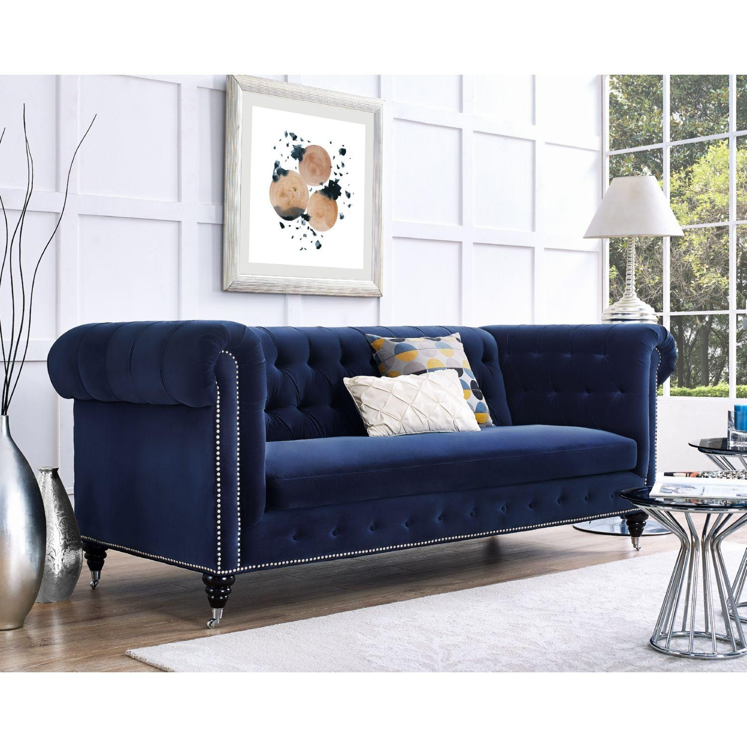 Sofa: Black Velvet Sofa | Navy Velvet Sofa | Blue Velvet Sofa Bed With Black Velvet Sofas (Image 14 of 20)