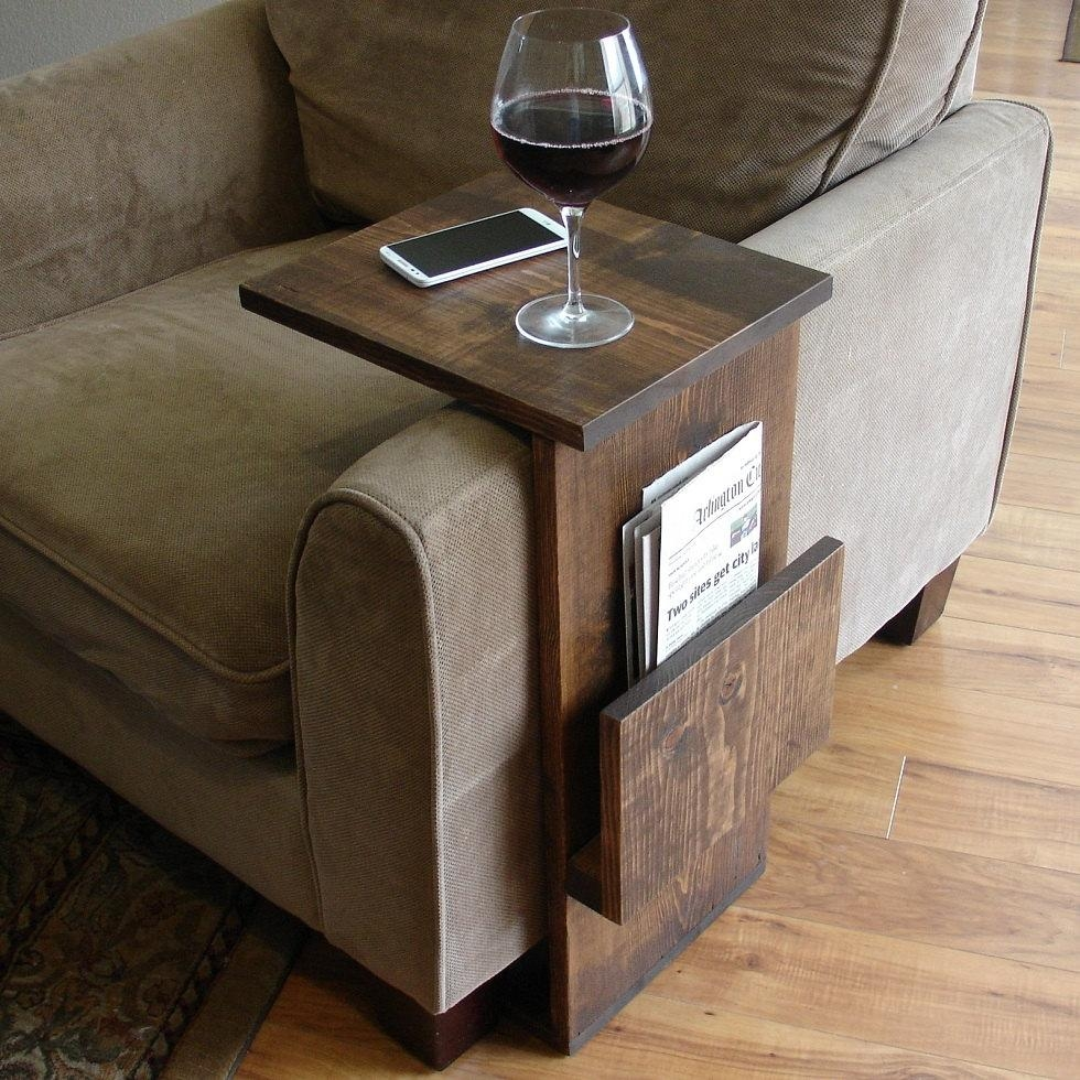 Sofa Chair Arm Rest Tray Table Stand With Side Storage Slot Within Sofa Side Tables With Storages (Image 19 of 25)