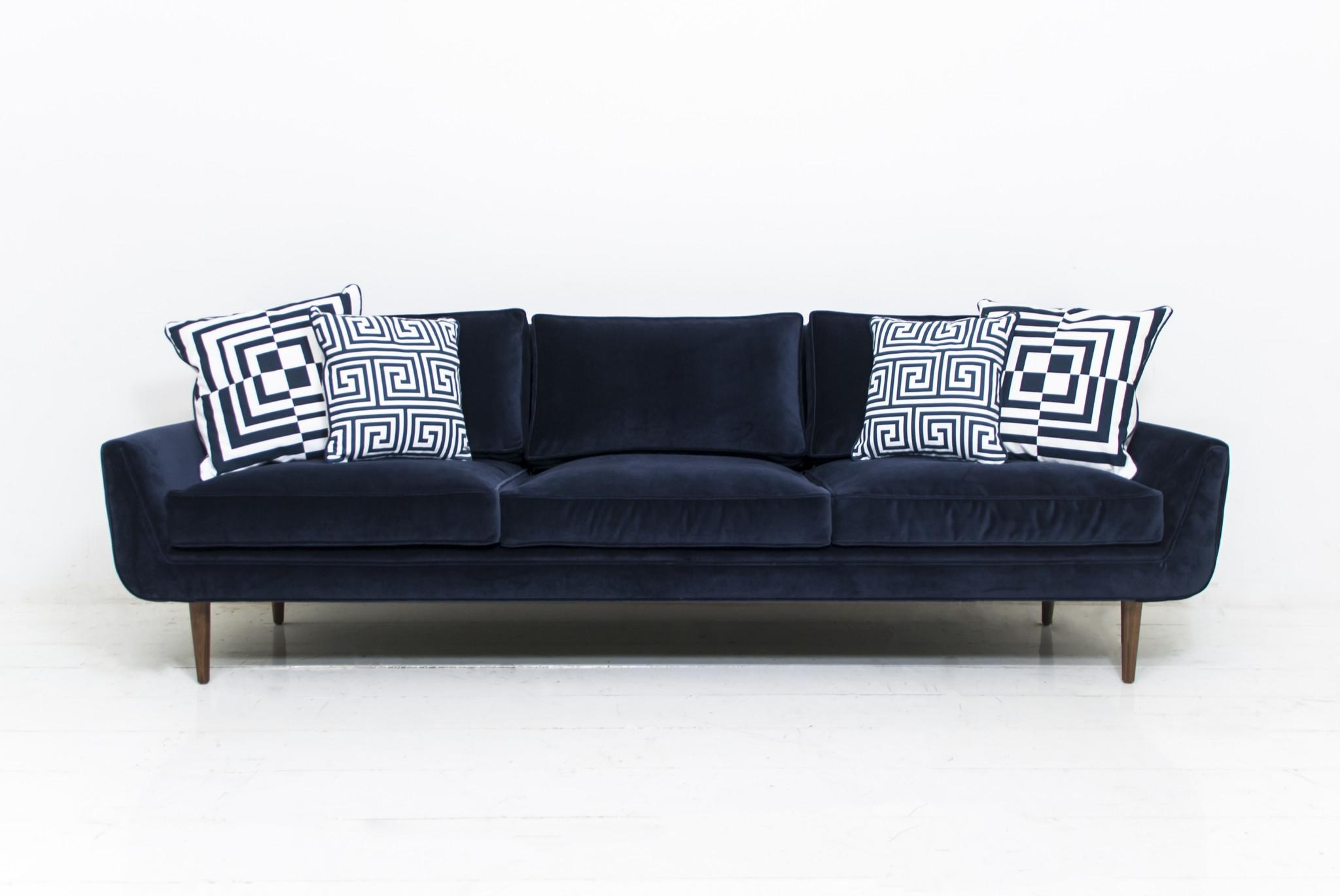 Sofa: Navy Velvet Sofa | Red Velvet Couch | Turquoise Velvet Sofa Regarding Black Velvet Sofas (Image 15 of 20)